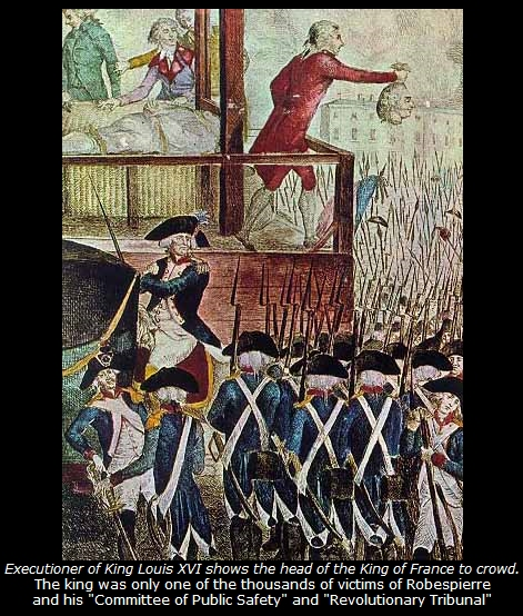 The execution of Louis XVI, the executioner displays the severed head of the king.