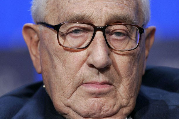 Former US Secretary of State Kissinger attends the opening news conference of the World Economic Forum in Davos