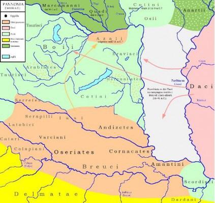 Harta vechii Iazigia, cimpia panonica, sec.I d.Cr.