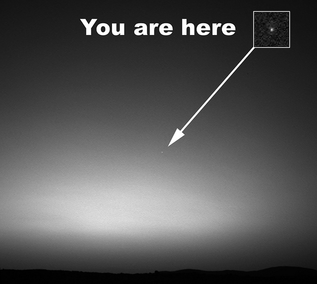 This is the first image ever taken of Earth from the surface of a planet beyond the Moon. It was taken by the Mars Exploration Rover Spirit one hour before sunrise on the 63rd Martian day, or sol, of its mission. (March 8, 2004) The image is a mosaic of images taken by the rover's navigation camera showing a broad view of the sky, and an image taken by the rover's panoramic camera of Earth. The contrast in the panoramic camera image was increased two times to make Earth easier to see.The inset shows a combination of four panoramic camera images zoomed in on Earth. The arrow points to Earth. Earth was too faint to be detected in images taken with the panoramic camera's color filters. Image Credit: NASA/JPL/Cornell/Texas A&M