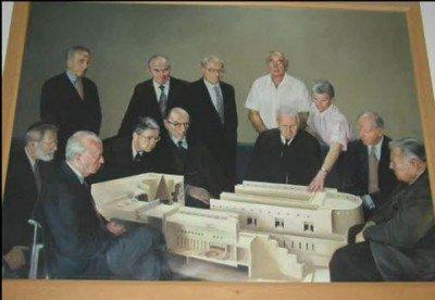 Pictură la intrarea în Curtea Supremă – familia Rothschild împreună cu Shimon Peresz şi Isaac Rabin